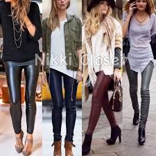 leather leggings pants black faux
