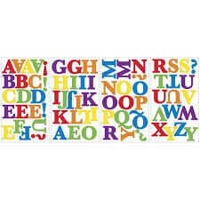 Primary Alphabet Letters Colorful Wall Stickers Room Decor Decals Abc Rainbow School Walmart Com Walmart Com