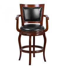 cherry wood bar stool w black leather