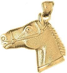jewels obsession 18k horse head pendant