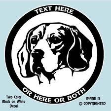 Beagle Hound Dog Head Study 2 Color Personalized Custom Decal