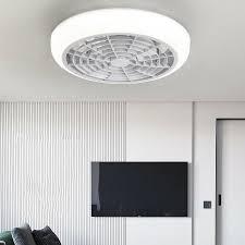 Modern Ceiling Fan Adjustable Wind Speed Acrylic Flush Mount Fixture Kids Room Ebay