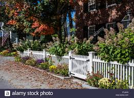 Autumn Garden White Picket Fence Gate In A Front Yard In Grafton Stock Photo Alamy