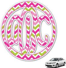 Amazon Com Youcustomizeit Pink Green Chevron Monogram Car Decal Personalized Automotive