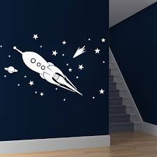 Children Wall Decal Boy Star Space Rocket Ship Wall Decal Wall Sticker Removable Kids Wall Decals Boys Wall Decals Wall Decals
