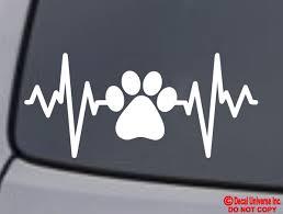 Paw Print Lifeline Vinyl Decal Sticker Car Window Bumper Dog Cat Love Heartbeat