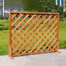 Subbye Wooden Grid Garden Fence Border Edge Wall Decor Free Standing Plant Picket Fencing Panels For Flowerbeds W Wood Foot Bracket Orange 3 Sizes Color 120 60cm Amazon Co Uk Kitchen Home