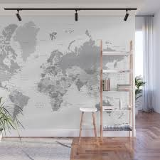 Gray World Map With Cities States And Capitals In The City Wall Mural By Blursbyaishop Society6