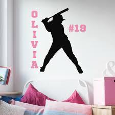 Girls Personalized Softball Player Vinyl Wall Decal Vinyl Written