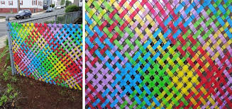 Weaving Ribbon Tape Into Chain Link Fence Fence Weaving Fence Art Fence Decor