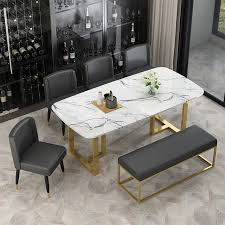 dining table with faux marble top