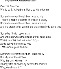 Top songs, 1939 music charts: lyrics for Over The Rainbow