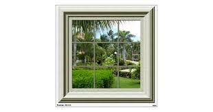 Faux Window Tropical Landscape Mural Wall Decal Zazzle Com