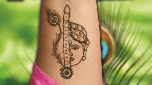love simple radha krishna mehndi design
