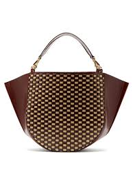 mia large woven leather tote bag