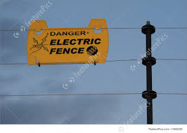Signs And Info Danger Electric Fence Stock Picture I1860529 At Featurepics