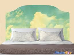 Blue Sky With Clouds Vintage Textured Headboard Wall Decal Graphic Vinyl Sticker Bedroom Wall Home Decor