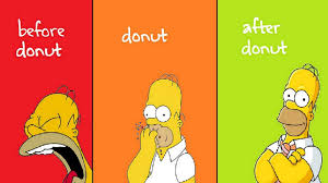 green red yellow homer simpson donuts
