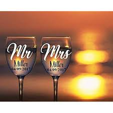 Amazon Com Mr And Mrs Wine Glass Decals Customize Color Name And Date For Your Wine Glasses Flasks Yeti Cups Wedding Gift Anniversary Gifts Etc Glass Not Included Metallic And Glitter