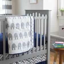 navy and gray elephants crib comforter