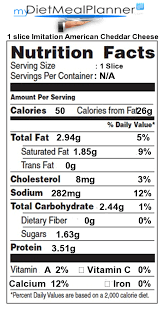 american cheese slice nutrition label