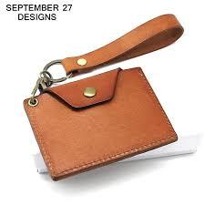 genuine leather id name card holder