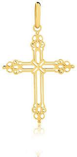 18k solid yellow gold cross pendant