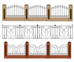 Photos Fence Designs Fence Vector Illustration Brick Fence And Wood Fence Different Designs Of Fences And Gates Isolated On A White Stock Vector C Alfadanz Stock Gmail Com 112909576