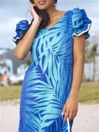 Exclusive] Anuenue Ginger Turquoise & Royal Poly Cotton Hawaiian Myra Long  Muumuu Dress | AlohaOutlet