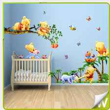 Winnie The Pooh Full Bedroom Mural Details About Winnie The Pooh Wall Stickers Butterflies Tree Decor Kids Bedroom Bedroom Decals Baby Decor