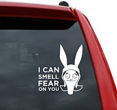 Amazon Com Black Heart Decals More Bob S Burgers Louise Belcher I Smell Fear On You Vinyl Decal Sticker Color White 5 Tall Automotive