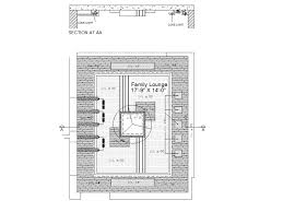 family lounge ceiling plan and section
