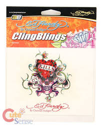 Ed Hardy Love Kills Slowly Cling Decal Sticker With Stone