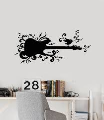 Vinyl Wall Decal Guitar Music Bird Sings Musical Notes Teen Room Stick Wallstickers4you