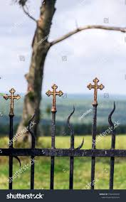 Beautiful Small Iron Crossed Fence Decoration Religion Stock Image 1564494016