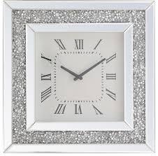 modern crystal wall clock clear mirror