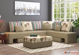 corner sofa design at wooden