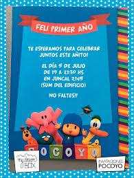 Tarjetas Invitacion Cumple Infantil Evento Pocoyo Pato Elly