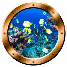 Coral Reef Wall Decal School Of Fish Porthole Ocean Wall Sticker Decor Beach Style Wall Decals By Vwaq Vinyl Wall Art Quotes And Prints