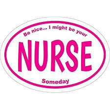 Amazon Com Wickedgoodz Oval Pink Be Nice I Might Be Your Nurse Someday Nurse Rn Decal Nursing Bumper Sticker Pinning Graduate Gift Automotive
