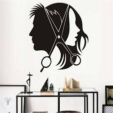 Hair Salon Wall Sticker Vinyl Decal Beautiful Sexy Girl Man Barber Scissors Stickers For Barber Shop Wall Decals Decor Mural Buy At The Price Of 4 72 In Aliexpress Com Imall Com