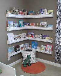 Children Bookcase Ideas Rain Gutter Bookshelves Children 039 S Bookshelves Kids Room Gutter Bookshelves Kids Kids Rooms Diy Kids Room Bookshelves