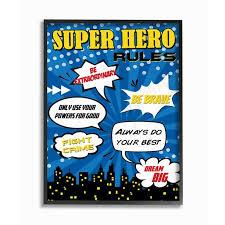The Kids Room By Stupell Comic Book Bubble Super Hero Rules Oversized Framed Giclee Texturized Art 16 X 1 5 X 20 Walmart Com Walmart Com