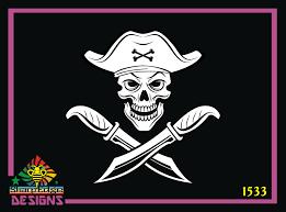 Pirate Skull Crossed Knives Vinyl Decal