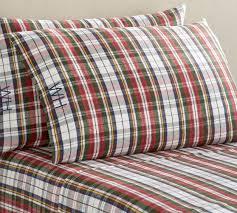 denver plaid organic flannel sheet set
