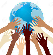 Group Of Diversity Hand Reaching For The Earth, Globe, Unity ...