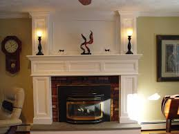 white brick fireplace mantel american