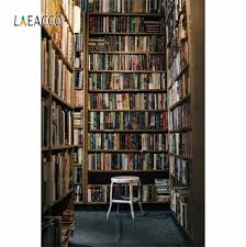 Laeacco رف خشبي للكتب مكتبة المدرسة دراسة الداخلية التصوير خلفيات