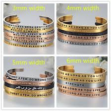custom saying quotes engraved friendship bracelet mantra jewelry
