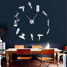 Barber Shop Hair Tools Oversized Diy Wall Clock Frameless Hair Salon Big Time Clock Fashion Hairdresser User Defined Room Decor Wall Decor Clock Wall Decor Clocks From Margueriter 16 91 Dhgate Com